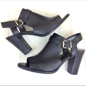 Cole Haan black open toe cutout ankle bootie heels